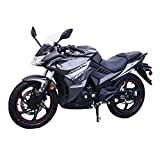 Lifan New Version 200cc Adult Gas Motorcycle Street Moped Scooter KPR 200 Fuel Injection Fully Assembled (Black/Sliver)