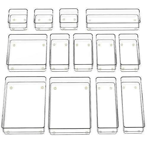 SMARTAKE 13-Piece Drawer Organizer with Non-Slip Silicone Pads, 5-Size...