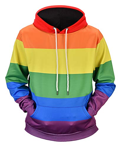 PIZOFF Unisex Rainbow Hoodie Gay Pride Rainbow Male Clothes Long Sleeve Pullover Sweatshirt with Pockets