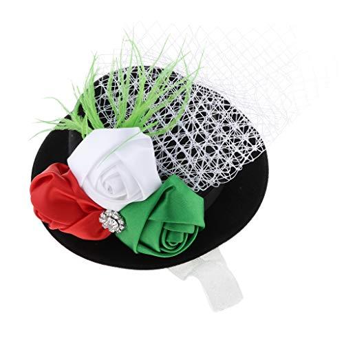Sharplace Pince à Cheveux Chapeau Mini Fleur Ruban Plume Dentelle Enfant Fille Fillette - Noir