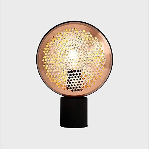 Lámpara de mesa Lámpara de mesa de sala de estar de metal de personalidad simple lámpara de mesita de noche de dormitorio de investigación de cuadrícula 22.5 * 30.5cm (color:negro) ( Color : Black )