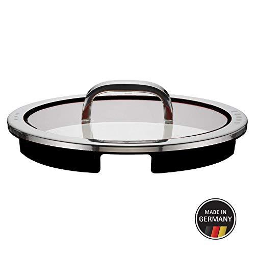 WMF Function - Tapas de cristal (4 unidades, 24 cm, con 4 funciones de vertido, cristal, silicona, acero inoxidable Cromargan pulido, aptas para lavavajillas), color negro