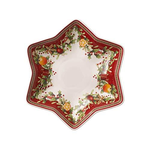 Villeroy & Boch Winter Bakery Delight Coupelle en étoile sur pied, Porcelaine Premium, Blanc/Rouge
