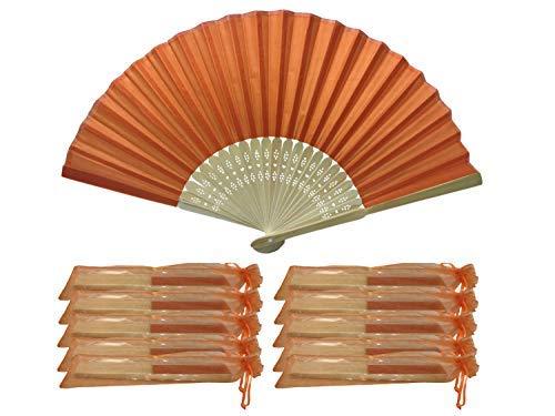 Juego de 10 abanicos de seda para manos, de bambú, para boda,...