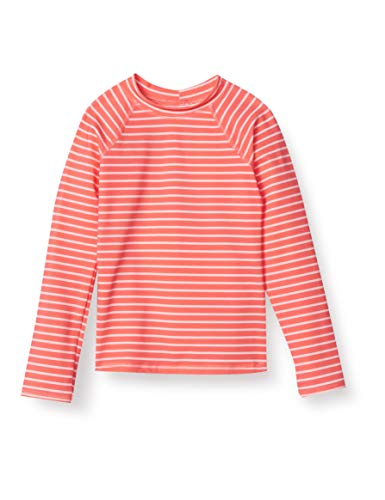 Amazon Essentials - Camiseta de manga larga de neopreno para niña, Rojo (Red & Pink Stripe), 128 cm (Talla del fabricante: M)