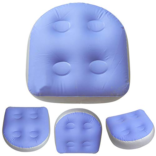 Spa and Hot Tub Booster Seat with Suction Cups, Spa Cushion Inflatable Bathtub Pillow, Soft Hot Tub Booster Seat Massage Mat Back Pad Relaxing for Adults Kids(Blue)