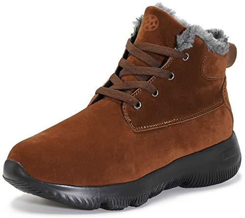 Gaatpot Mężczyźni kobiety buty śnieżne buty zimowe ciepłe modne trampki z podszewką z futra skórzane sznurowane botki płaskie buty, Kawa, 36 EU