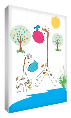 Little Helper gir1624–12 G Feel Good Art Tableau en toile de lin épaisse Bijoux mural – Girafe maman et bébé girafe au point d'eau trous, 60 x 40 cm