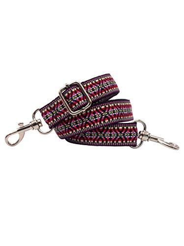 BENAVA Taschengurt Schulterriemen Bunt für Taschen Handtaschen - Bunter Schultergurt Baumwolle Ethno Muster und Karabinerhaken Silber - Verstellbar