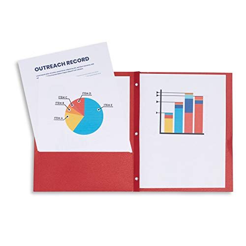 Blue Summit Supplies 25 Two Pocket Folders with Prongs, Designed for Office and Classroom Use, Red, 25 Pack Colored 2 Pocket 3 Prong Folders