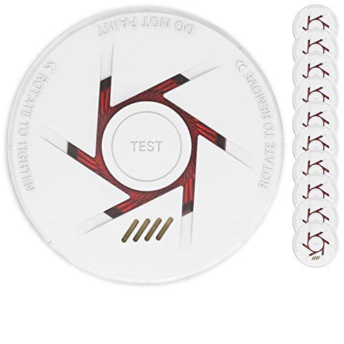 Rauchmelder 10er Set mit 10 Jahre Garantie inkl. 10x 9V Batterie geprüft nach DIN EN14604 und BSI Zertifiziert - 10 Stück Rauchwarnmelder Feuermelder Brandmelder Feueralarm