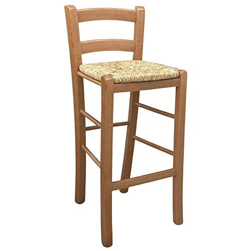 Taburete de madera de color nogal claro con respaldo de 67 cm de altura, asiento de paja