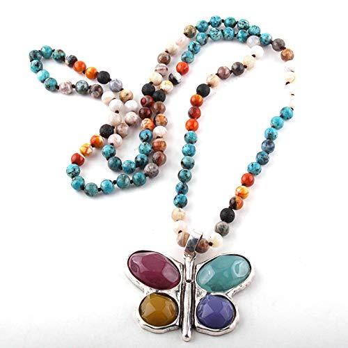 guodong 108 Cuentas Mala Multi Piedra Anudada Mariposa Encanto Colgante Collar Mujeres Meditación Yoga Collar Día De La Madre Regalo