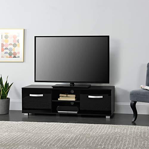 Mobile Porta TV con 2 Armadi e 2 Ripiani con Passaggio Cavi 120 x 40 x 38 cm Supporto TV Tavolino Consolle - Nero