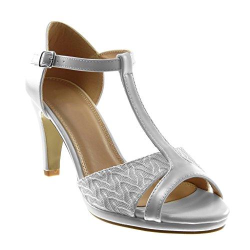 Angkorly - Damen Schuhe Pumpe Sandalen - T-Spange - Stiletto - Peep-Toe - glänzende - Spitze Stiletto high Heel 8.5 cm - Weiß W60 T 41