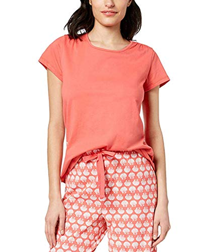 Charter Club Womens Cotton Short-Sleeve Soft Knit Pajama Top (Peony Coral, Large)