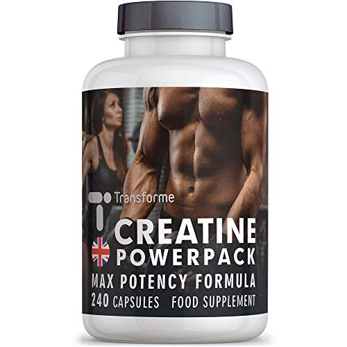 Creatine Monohydrate Capsules High Strength, 4200mg, ALA, Vitamin D B12, Zinc, 240 Capsules of Creatine Powder (Superior Absorption to Tablets), 40 Servings, Money Back Guarantee, by Transforme