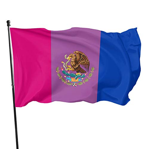 MINIOZE Bisexual Bi Mexican Mexico Pride Flag Welcome Party Outdoor Outside Decorations Ornament Picks Home House 3x5 Ft Garden Yard Flag Decor