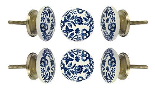 "Set of 6 Cabinet Knobs Ceramic Beckenham Handmade Drawer Pull Diameter 1.6"" (40 mm) Kitchen Cupboard Pull Dresser Door Handle by Trinca-Ferro"