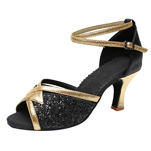 QueenMMWomen Rhinestone Ballroom Dance Shoes Latin Salsa Performance Dance Shoes Lucille Dress Pump