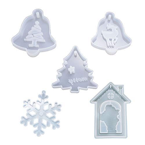 5 piezas de moldes de resina de silicona con diseño de copo de nieve, árbol de Navidad, alce, campana, etiqueta