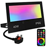 Jayool LED Floodlight Outdoor 40W 4000LM, Flood Lights Colour Changing, 120 RGB Colours- Warm White-Timing-Remote Control - 5 Modes, IP66 Waterproof, UK 3-Plug (1 Pack)