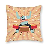 Rhino Knocking on Drum Set de fundas de almohada de lona decorativas cuadradas para hombres, mujeres, niños, niñas, sala de estar, dormitorio, sofá silla, lona, Multicolor, 14x14 inches/(35x35cm)