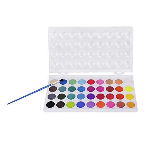 JIAHG Kinder Ungiftig Aquarellfarben Set Aquarellkasten Wasserfarben Set mit 36 Wasserfarben Farbkasten Aquarell Farbe Kuchen mit Pinsel