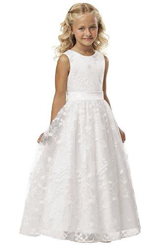 Babyonlinedress Ärmellos Spitze Hochzeit Blumenmädchenkleider Kinderkleid Festlich Kommunionkleid, Alter 6~7, Weiß