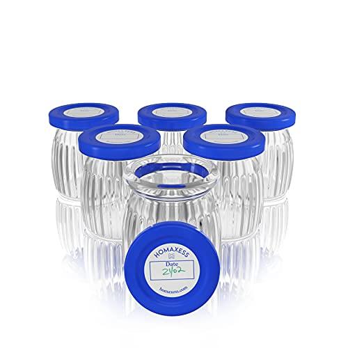 Homaxess | 6 Pots Yaourt en Verre | Compatible Toute Yaourtiere | Couvercle à Dater | Capacité 150 ML | BPA free | Packaging sans Plastique