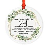 Andaz Press Round Ceramic Porcelain Christmas Tree Ornament Keepsake Bereavement Memorial Collectible, Greenery Green Leaves, in Loving Memory of Dad, 1-Pack