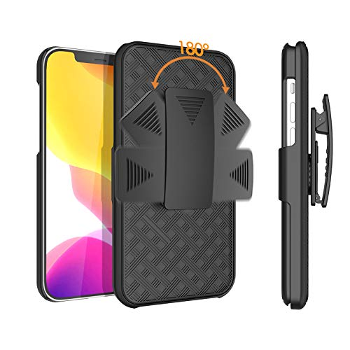 HIDAHE Compatible with Holster Case for iPhone 12 Pro/iPhone 12, Combo Shell & Holster Slim Shell Case for Men with Built-in Kickstand + Swivel Belt Clip Holster for iPhone 12 Pro 6.1'' ONLY, Black
