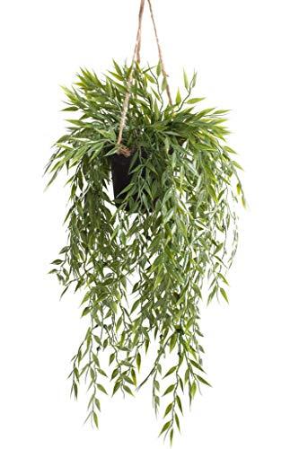 Emerald künstliche Pflanzen Hängeampel im schwarzen Kunststofftopf (Bambus)