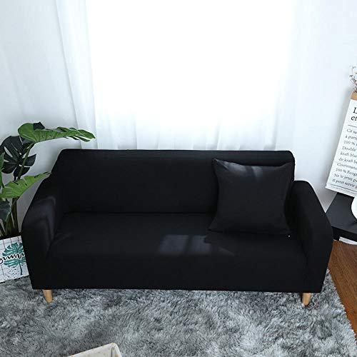 Allenger 1 Protector elástico para Muebles,Sofá Todo Incluido de Color sólido, Funda de sofá fácil de Limpiar, Funda Protectora de sofá de Alta Elasticidad-Negro_145-185cm
