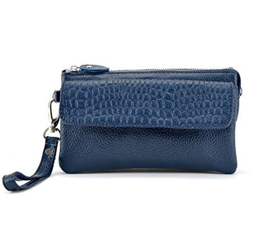 Kormei - Pochette da polso da donna, in pelle, con tracolla, Blu (Blu), Taglia unica