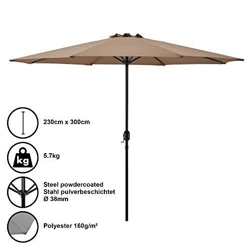 [casa.pro] Sombrilla Ø 300cm [Beige] con manivela Parasol para jardín, terraza, balcón Patio