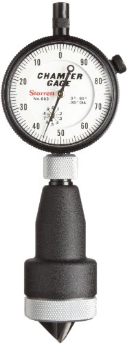 Starrett 683-3Z Inch Reading Internal Chamfer Gauge, 0-90 Degree Angle, 0-1