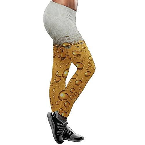 Leggings Cintura Alta Para Mujer,Pantalones De Yoga Para Mujer, Mallas De Entrenamiento, Estampado De Cerveza, Cintura Alta, Opacas, Leggings De Yoga, Leggings De Yoga Elásticos Clásicos Para Gimn