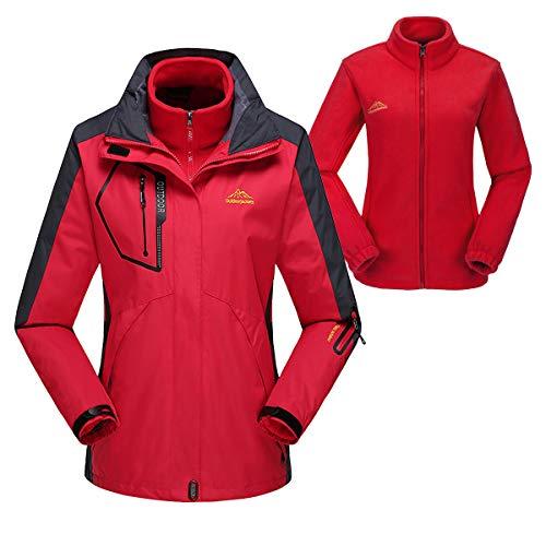 donhobo Damen 3-in-1 Skijacke mit Fleecejacke wasserdichte Regenjacke Outdoorjacke mit Kapuze Abnehmbare und Taschen Funktionsjacke Warm Winterjacke Doppeljacke Rot XL