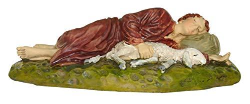 Figuras Belén: pastor durmiendo con oveja colección Martino Landi para pesebre de 12 cm