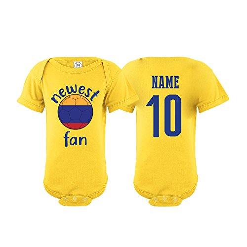 Colombia Bodysuit Newest Fan National Team Soccer Baby Girls Boys Customized (Bodysuit 6M) Yellow