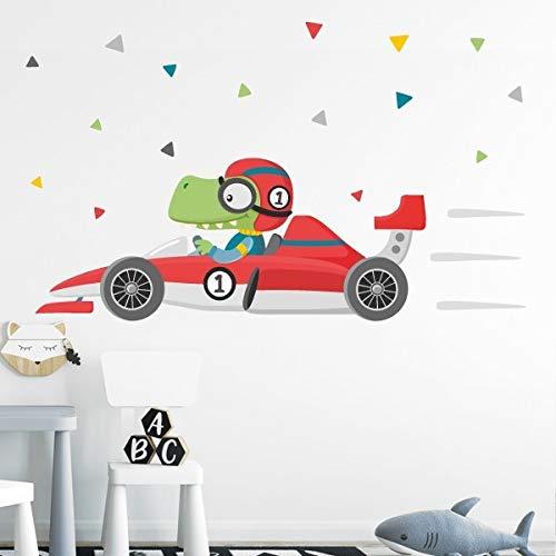Vinilos infantiles - Coche de carreras con cocodrilo - T3 - Grande