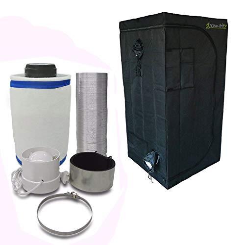 grow-fritz Zelt Größe 80x80x160cm + Abluft-Filter Klimaset, Anschluss 100mm