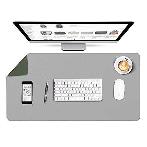 AtailorBird Extended Mouse Pad 800X400X2mm, Large Size Waterproof PU Leather Protective Desk Pad Writing Mat Desk Blotter for Office Home - Double Side Green/Grey