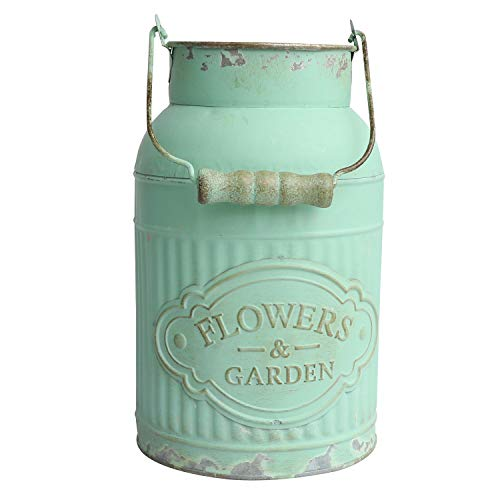 SHINGONE French Country Style Large Metal Vase Shabby Chic Milk Can Vase Pot Flower Holder for Home Garden Decoration