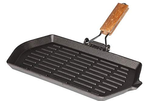 Mustang Gusseisen Grillpfanne mit klappbaren Holzstiel | 34x20cm rechteckig | Steakpfanne Grillpfanne für Feuerstelle, Grillplatz, Lagerfeuer, Gas- und Holzkohlegrills | Finnland