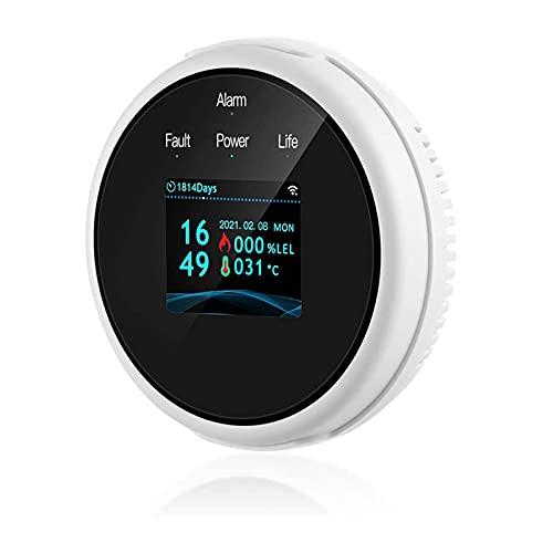 YGQNH Monitor De Calidad del Aire, Detector De Gas Natural WiFi con Sensor De Fugas De Gas De Temperatura Adecuado para GLP LNG, Control Inteligente De Aplicaciones, Enchufe De EE. UU.