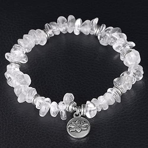 Pulsera Bolas Hombre,7 Chakras Cristal Blanco Natural Grava Chip Lotus Colgante Balance Pulsera Moda Brazalete Elástico Regalo De Cumpleaños para Hombres Mujeres