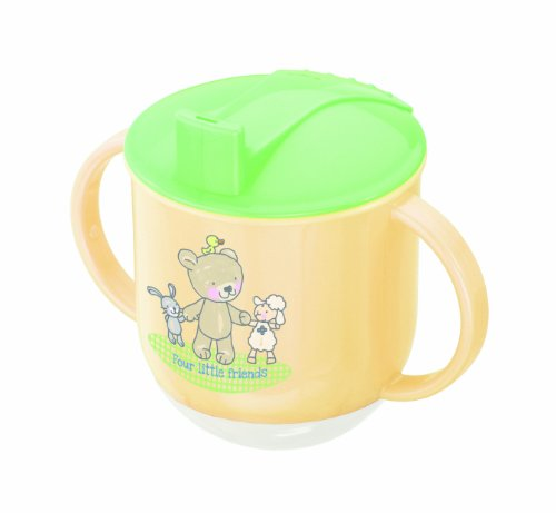 Rotho Babydesign Schaukeltasse, Ab 6 Monaten, Modern Feeding, Design Beste Freunde, 10,5 x 12cm, Vanille/Lindgrün/Weiß, 300240223AZ