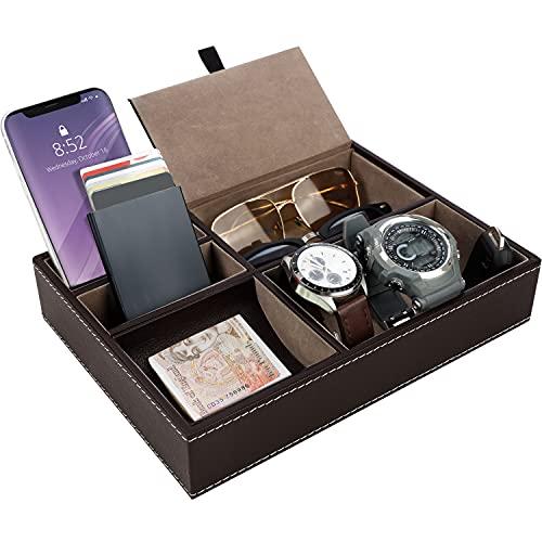 Belle Vous Bandeja Valet - 25,7x18,6cm Bandeja Valet de Cuero Sintético para Hombres con 5 Compartimentos for Llaves, Teléfono, Monedas & Llaves - Elegante caja de Presentación para Hombres (Marrón)